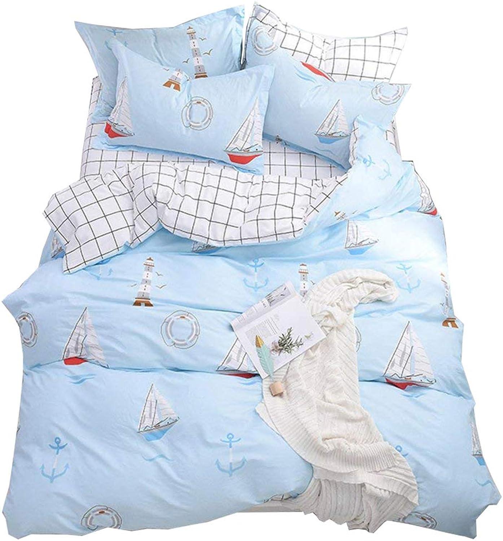 Kids Boys Sailing Theme Bedding Sets Twin 3 Piece Premium Cotton Sailing Boat Tower Mew Print Duvet Cover Set Twin Reversible White Black Plaid Grid Kids Comforter Bedding Sets Twin