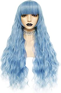 Anogol Hair Cap+Blue Cosplay Wig for Lolita Wigs Long Body Wave Wigs with Bangs Blue Wigs for Halloween Party