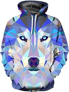 Takra Gold Men Blocks Wolf Print 3D Animals Designer Hooded Long Sleeve Hoodies Sweatshirts