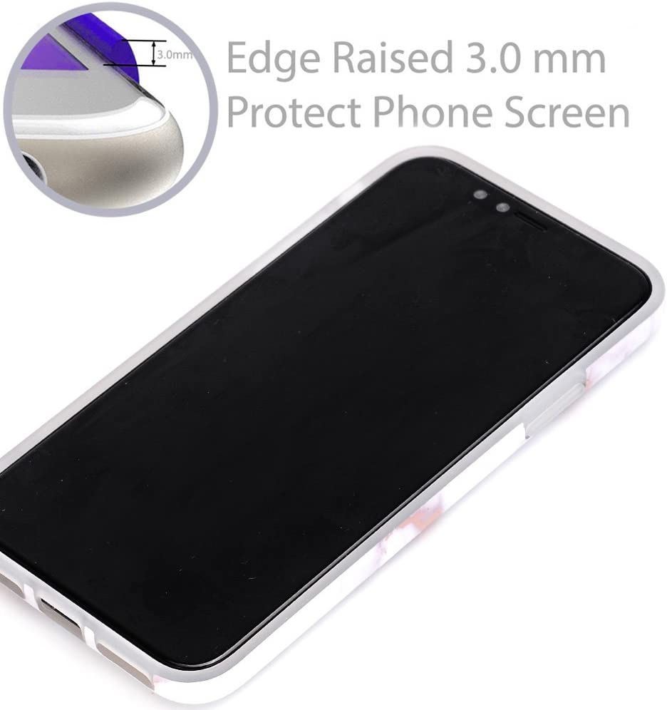 BAISRKE Shiny Rose Gold Marble Design Clear Bumper Matte TPU Soft Rubber Silicone Cover Phone Case Compatible with iPhone X iPhone Xs 5.8 inch - Gray