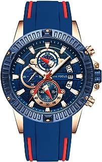 MECCA Men's Watch Date Day Chronograph Blue Silicone Band Military Sport Waterproof Analog Quartz Sport Wristwatch MF002