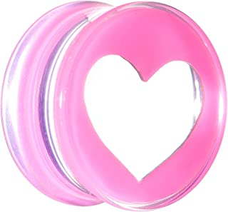 "Body Candy 5/8"" Clear Pink Acrylic Adoring Heart Saddle Ear Gauge Plug (1 Piece)"