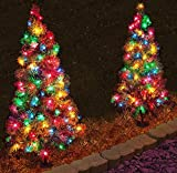 Set of 2, Pre-Lit 3' Tall Artificial Pathway Christmas Trees for Indoor/Outdoor use. Includes 70 multi color led lights, steel ground stake