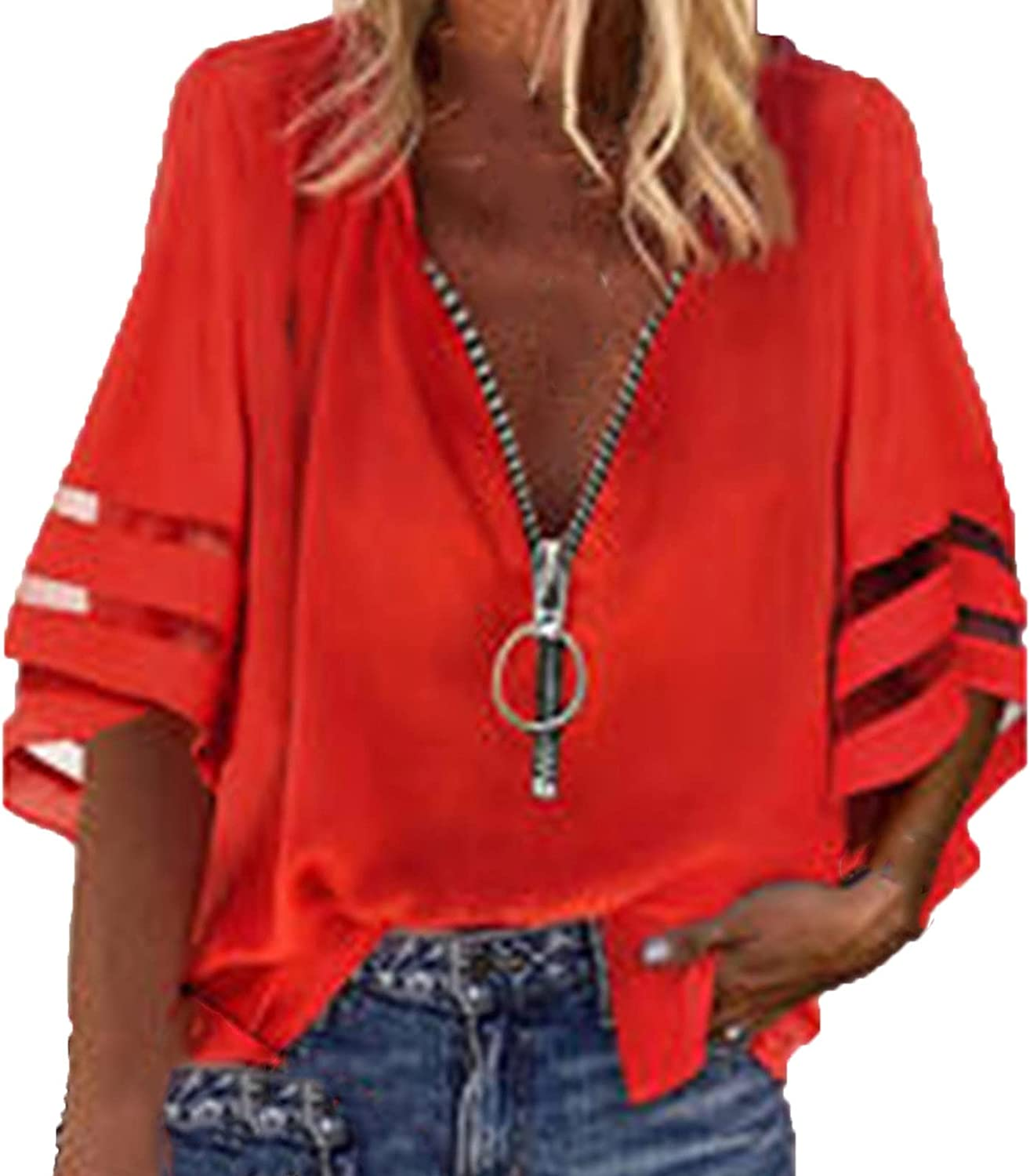 Womens V-Neck Shirt Summer Solid Zip Front Blouse Lantern Sleeve Loose Casual Pullover Top Blouse Shirts