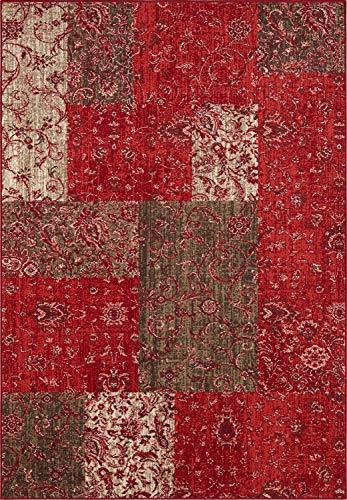 Bavaria Home Style Collection Designer Teppich Wohnzimmer Teppiche Ornamente Vintage Optik Verschiedene Motive und Farben braun-rosa-rot-braun UVM 160 x 230 cm (rot-braun)