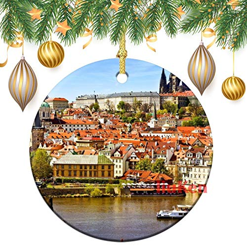happygoluck1y Ceramic Chrismtas Ornaments,Prague Ornaments Round Double Sided,Christmas Tree Decoration Ornaments,Keepsake,for Home,Kids,New Couples,3 inch