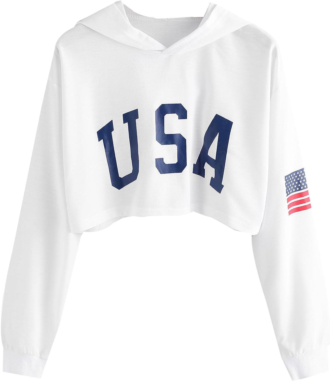 SweatyRocks Women's Casual Letter Print Long Sleeve Crop Top Sweatshirt Hoodies