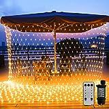 WOWDSGN 200 LED Lichternetz 3 x 2 m warmweiß Lichterkette Netz mit Fernbedienung Trafo Timer 8 Modi Lichtketten für Weihnachten, Halloween,...