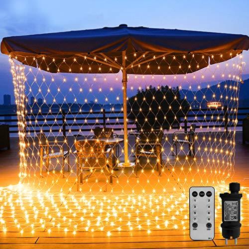 WOWDSGN 200 LED Lichternetz 3 x 2 m warmweiß Lichterkette Netz mit Fernbedienung Trafo Timer 8 Modi Lichtketten für Weihnachten, Halloween, Party, Geburstag, Hochzeit Geeignet für Innen und Außen