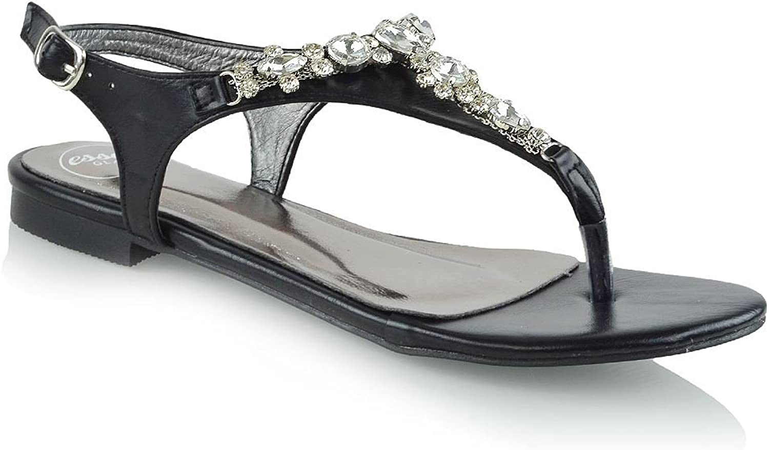 ESSEX GLAM Womens Slingback Sandals Flat Thong Diamante Gem Holiday Sandals
