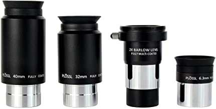 SVBONY Telescope Eyepiece Set Telescope Accessory Set with 2x Barlow Lens 4 Element Plossl Design 6.3mm 32mm 40mm for Astronomical Telescopes