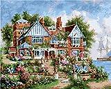 YYZCM Pintar por Numeros para Adultos Niños Pintura por Números con Pinceles y Pinturas Decoraciones para el Hogar Casa de Flores (16 * 20 Pulgadas, Sin Marco)