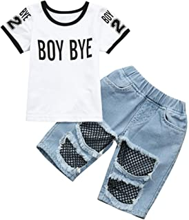 Moonker Toddler Infant Baby Girls Boys Letter Print boy Bye T Shirt Tees and Hole Mesh Denim Pants Outfits Set