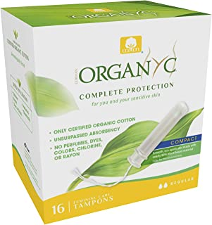 Organyc 100% Certified Organic Cotton Tampons – Plant-Based Eco-Applicator, Normal Flow, 16 Count, White, Regular