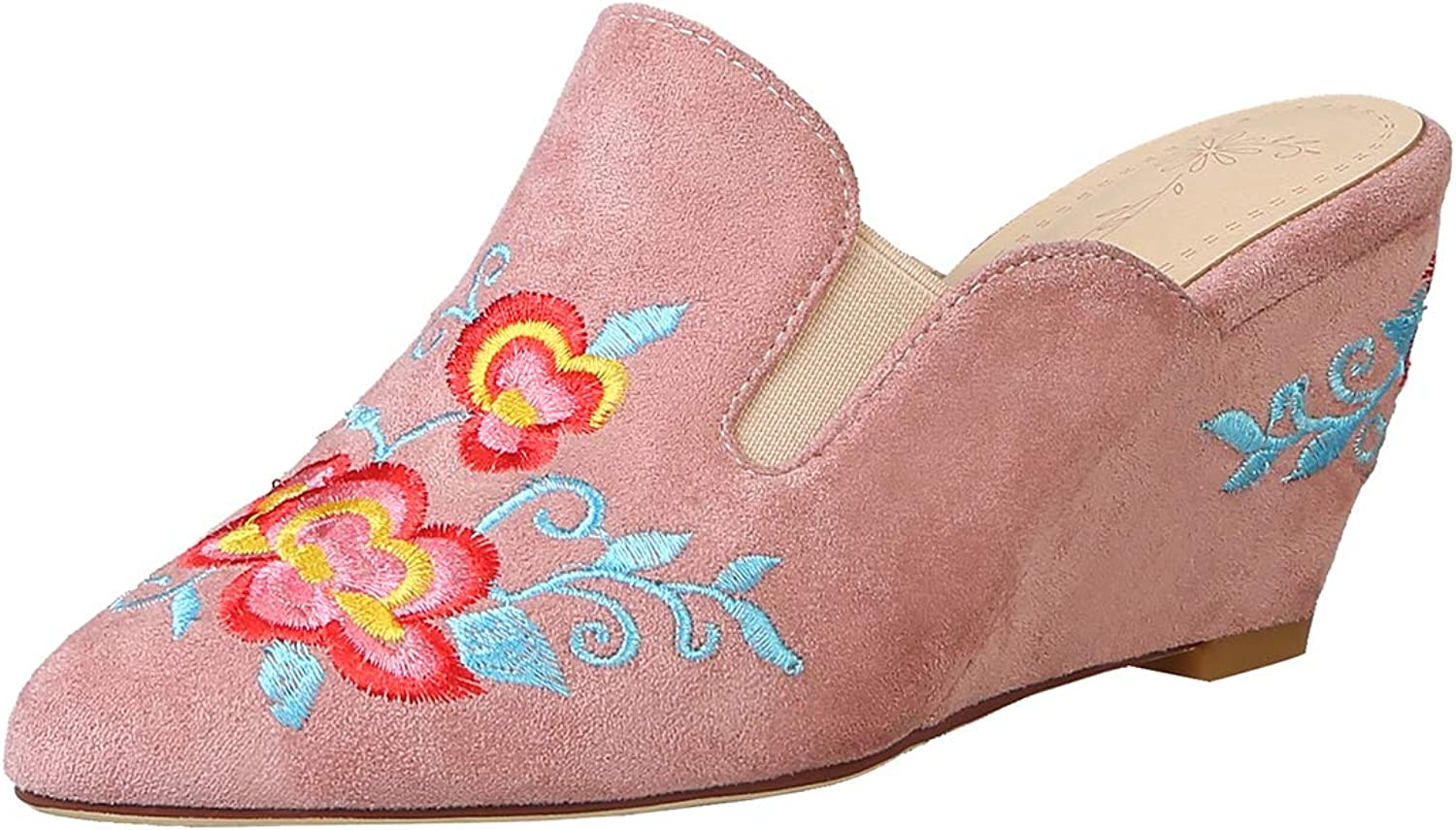 Artfaerie Womens Embroidery Clogs Mules Wedge Heel Slippers Pointed Toe Floral Print Slingback Pumps