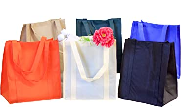 Reusable Grocery Bags (5 Pack) - Hold 30+ lbs - Super Strong, Heavy Duty Shopping Bags with Reinforced Handles & Thick Plastic Bottom for Strength
