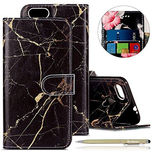 Funda para teléfono móvil Huawei P9 Lite Mini, multicolor, de piel, con tarjetero, cierre magnético, color negro mármol