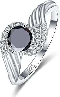 925 Sterling Silver Created Black Spinel Filled Bypass Band Swirl Anniversary Ring for Women