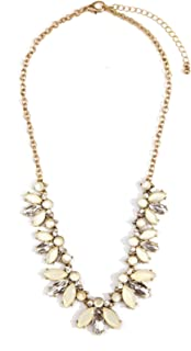 Statement Necklace Pastel Colors Flower Floral Necklace Nude Gems in Neutral Colors nickel free