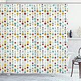 ABAKUHAUS Abstrakt Duschvorhang, Bunte große Punkte, mit 12 Ringe Set Wasserdicht Stielvoll Modern Farbfest & Schimmel Resistent, 175x180 cm, Mehrfarbig