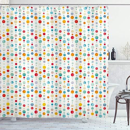 ABAKUHAUS Abstract Douchegordijn, Kleurrijke Grote Dots, stoffen badkamerdecoratieset met haakjes, 175 x 240 cm, Veelkleurig