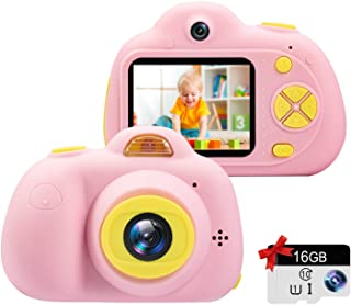 """Kids Camera Gifts for Girls 1080P HD,Mini Rechargeable Children Shockproof Digital Front and Rear Selfie Camera Child Camcorder for 3-9 Year Old Kids Gifts 2.0"""" LCD Screen (Pink)"""