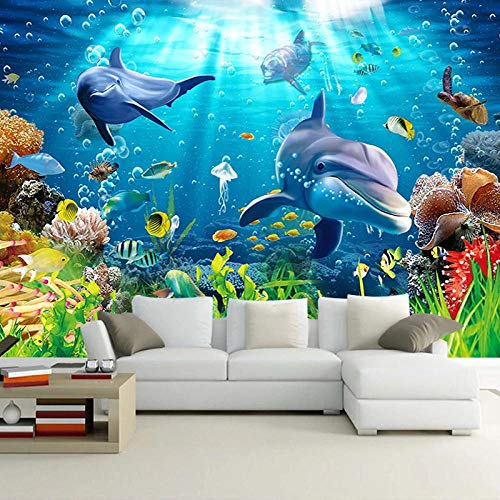 Mural Non Woven 3D Effect Wallpaper 350 * 256Cm Blue Underwater World Colorful Coral Animal Dolphin Self-Adhesive 3D Wall Stickers for Girls Room Wall Decal Poster Picture Holiday Gift Decoration