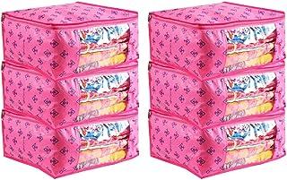 PrettyKrafts Saree Cover Set of 6 Prints Big Size/Wardrobe Organiser/Cloth Cover_Pink