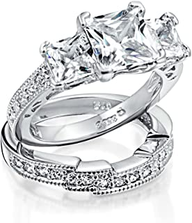 Art Deco Style 3CT Square Princess Cut 3 Stone Past Present Future Promise CZ Engagement Wedding Ring Sterling Silver