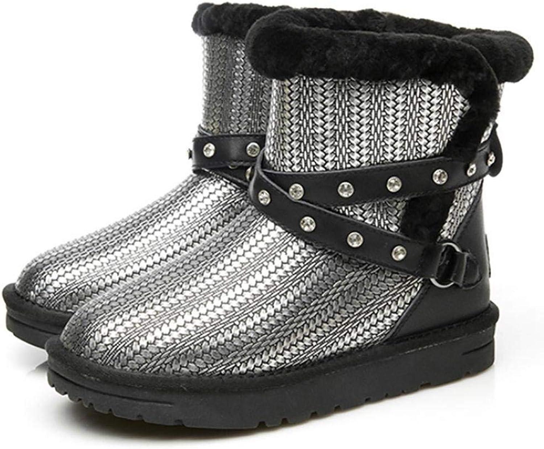 Fuxitoggo Schnee Stiefel Damen Schuhe Winter Warm Pelz Stiefel Stiefeletten Schneestiefe (Farbe   Silber, Gre   37)