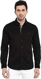 Mufti Men's Solid Slim fit Casual Shirt (MFS-9861-H-01-BLACK- Black_3XL)
