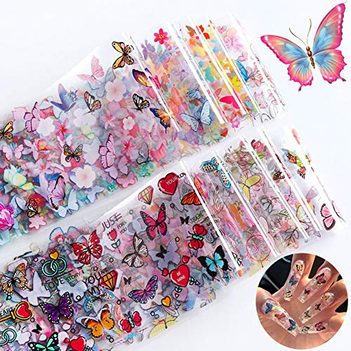 10 Sheets Butterfly Nail Foil Transfer Stickers Nail Art Supplies Foil Transfers Flowers Butterfly Nail Decals for Women Manicure Starry Sky Transfer Tips Nail Art DIY Decoration Kit