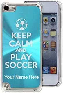 Case Compatible with iPod Touch 5th/6th/7th Generation, Keep Calm and Play Soccer, Personalized Engraving Included (Light Blue)