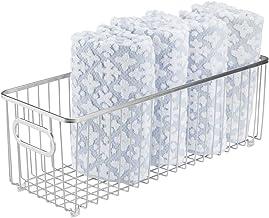 mDesign Kosz do przechowywania – długi metalowy kosz druciany do przechowywania w gospodarstwie domowym – idealny organize...