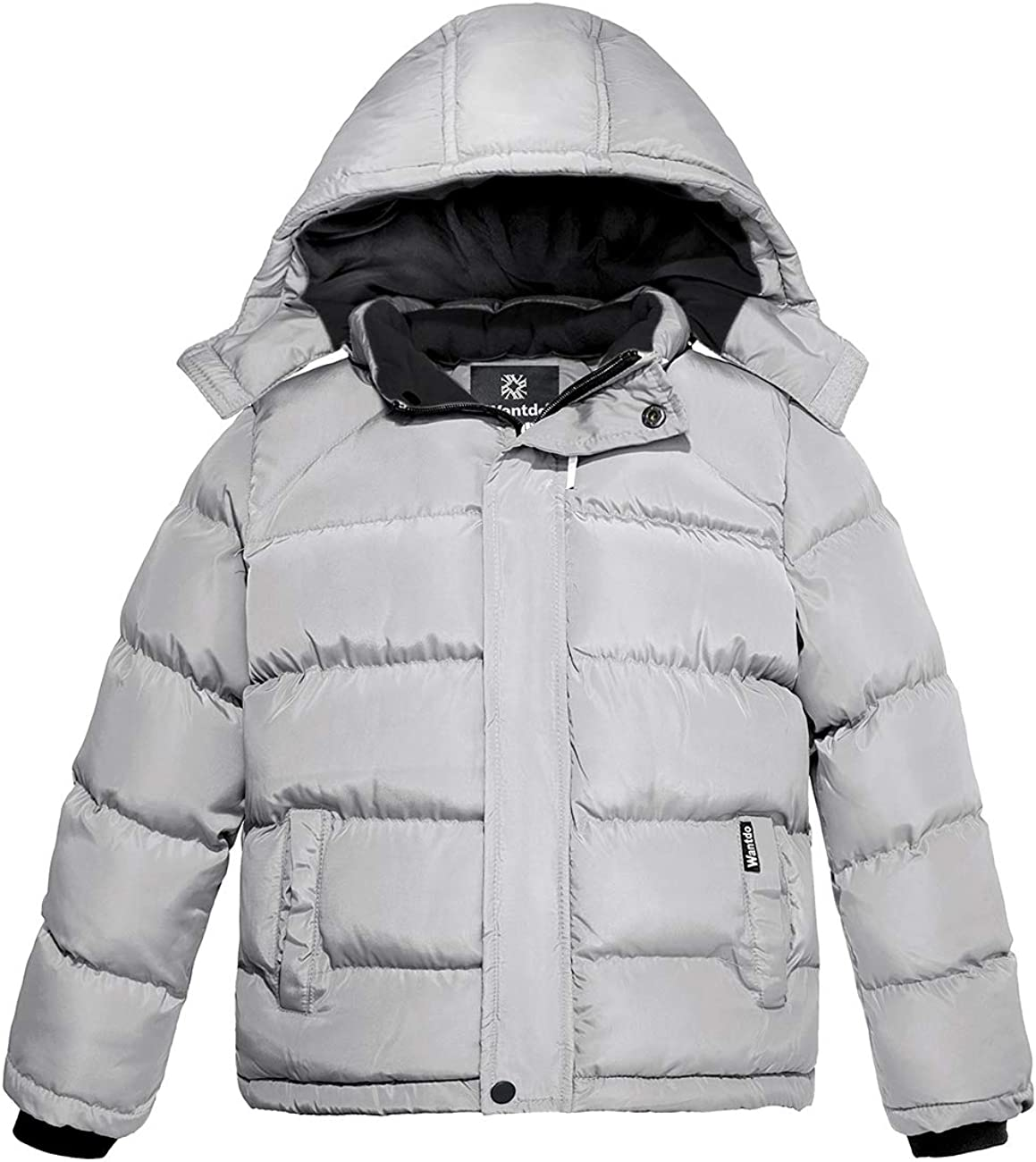 Wantdo Boy's Winter Coat Thicken Padded Warm Puffer Jacket with Detachable Hood