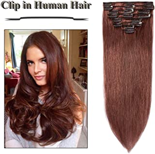 Clip in Hair Extensions Dark Auburn 14-24 inch Remy Human Hair for Women 8pcs 18 Clips Full Head Soft Straight Hair(16