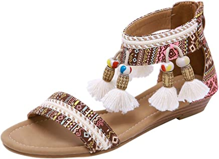 AMUSTER Sandalen Damen Sommer Flach Bunt Boho Vintage Schuhe Zehentrenner Schuhe /Übergr/ö/ße Sommerschuhe Strandschuhe Pantoletten