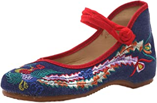 Huicai Womens Embroidered shoes Fashion Dress Shoes Single shoes dncing shoes