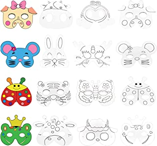 Vankcp 16Pcs Children DIY Animal Mask Graffiti Blank Painting Paper Face Mask with Holes Elastic Cords for Party Supplies Kids' Hand Painting Art Crafts White