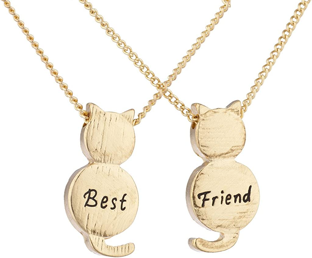 LUX ACCESSORIES Best Friend BFF Engraved Cat Novelty BFF Necklace 2Pc Set