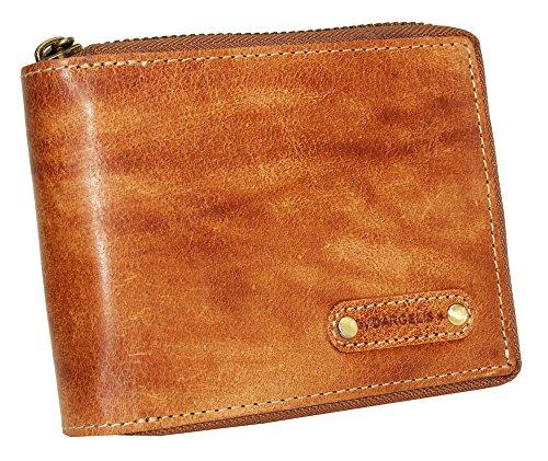 Leder Börse mit Reißverschluss Portemonnaie Geldbörse Geldbeutel Damen Herren handpolierte Oberfläche 992ZHP Tan