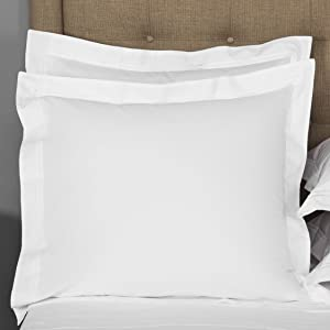 THREAD SPREAD European Square Pillow Shams Set of 2 White 1000 Thread Count 100% Egyptian Cotton Pack of 2 Euro 26 x 26 Bright White Pillow Shams Cushion Cover, Cases Super Soft Decorative.