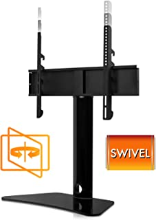 Mount-It! Universal Swivel TV Stand, Swiveling Height Adjustable Television Tabletop Base Fits 32