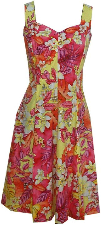 Jade Fashions Inc. Women's Cotton colorful Plumeria Sundress