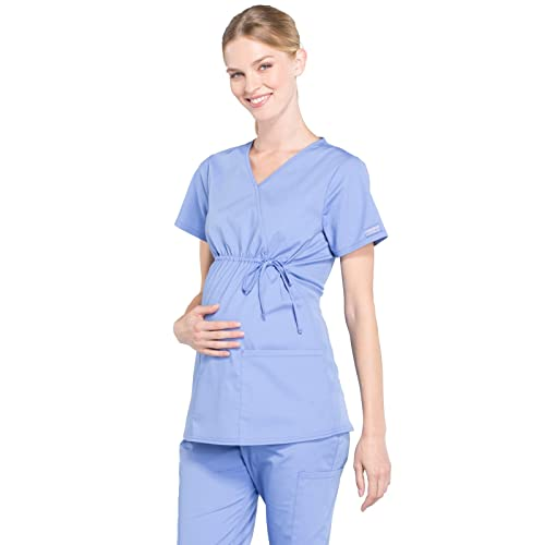 5f7aa4cb4f9 Cherokee Workwear Professionals Women's Maternity Mock Wrap Scrub Top