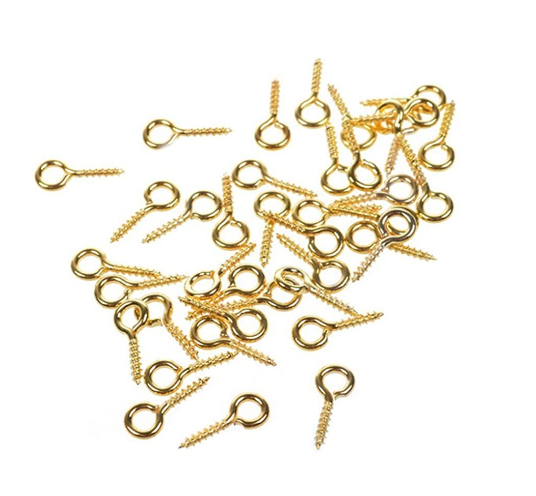 500PCS Mini 8mm x 4mm Screw Eyes Pin Hoop Eyelet Peg Findings for Arts & Crafts Projects/Bead/Jewelry/Cork Top Bottles Bails Creative Designs Top Drilled Connectors Pendant Bail (Gold)