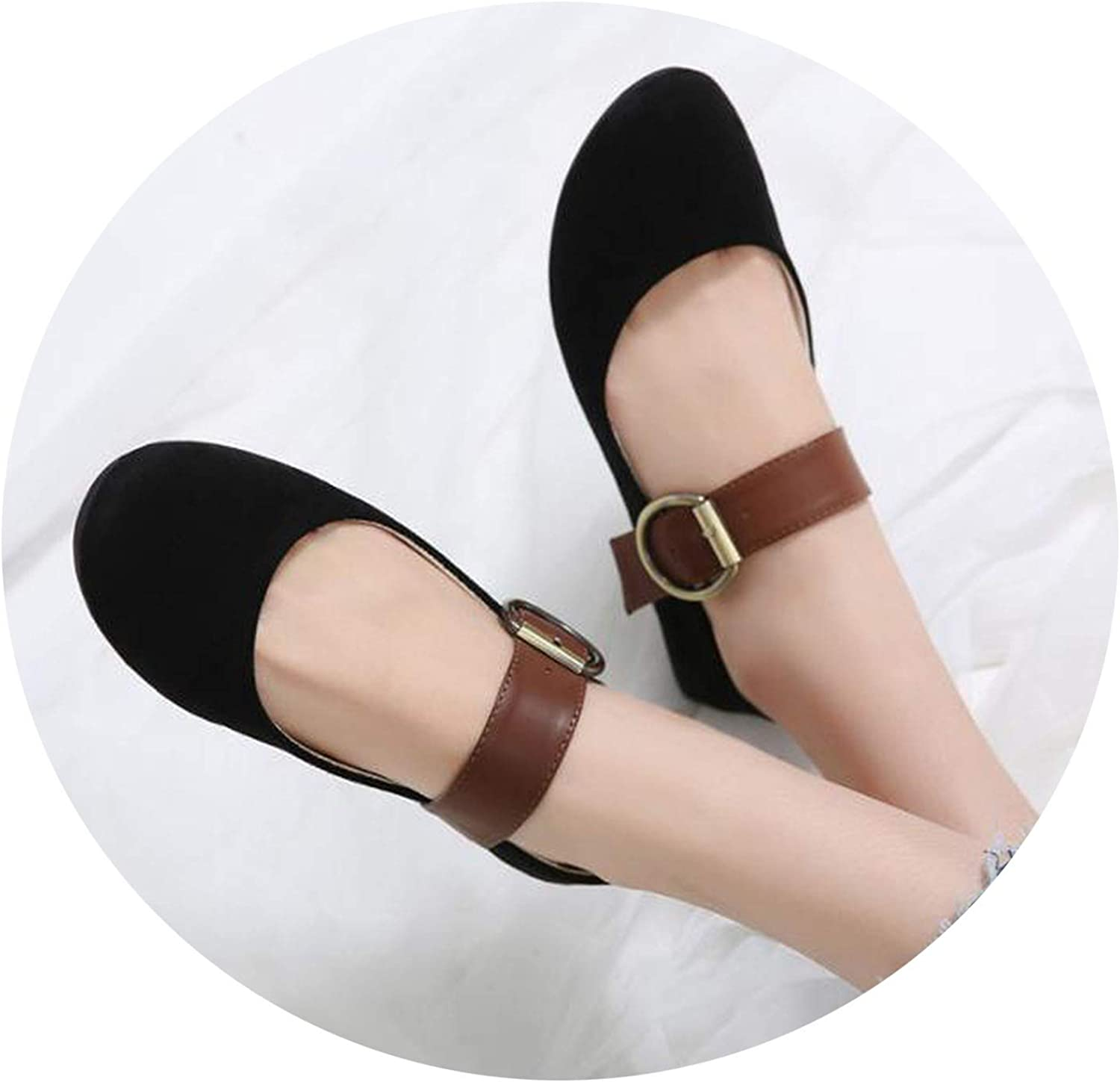 colorful-space Women Casual Flat Heels shoes Woman Fashion Buckle Ballet shoes Soft Lazy Loafers Boats Plus Size 35-41 Black Brown