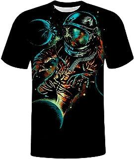 CAPINER Astronaut Ribbon Men's Casual Short Sleeve, Creative Print Round Neck T-Shirt