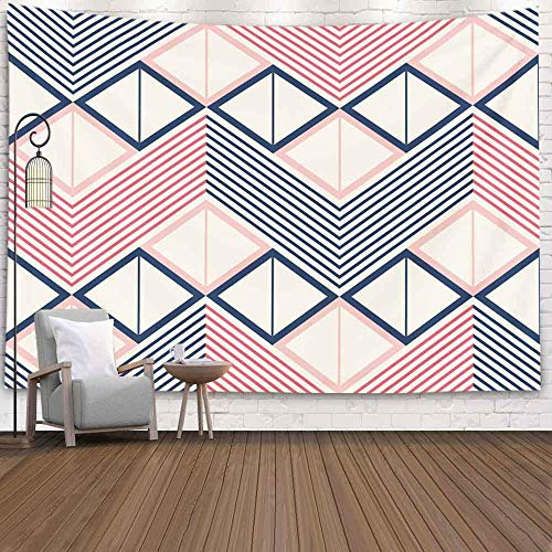 Halloween Tapestry, Snowman Tapestry Tapiz de pared colgante de invierno para D & eacute; cor Patrón de sala de estar de zigzag horizontal en cuadrados de paleta de colores retro divididos en dos triá