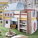 Steens For Kids Vorhangset für Kinderbett, Hochbett, 5 tlg, 176 x 75 x 91 cm (B/H/T), Baumwolle, Grau - 3